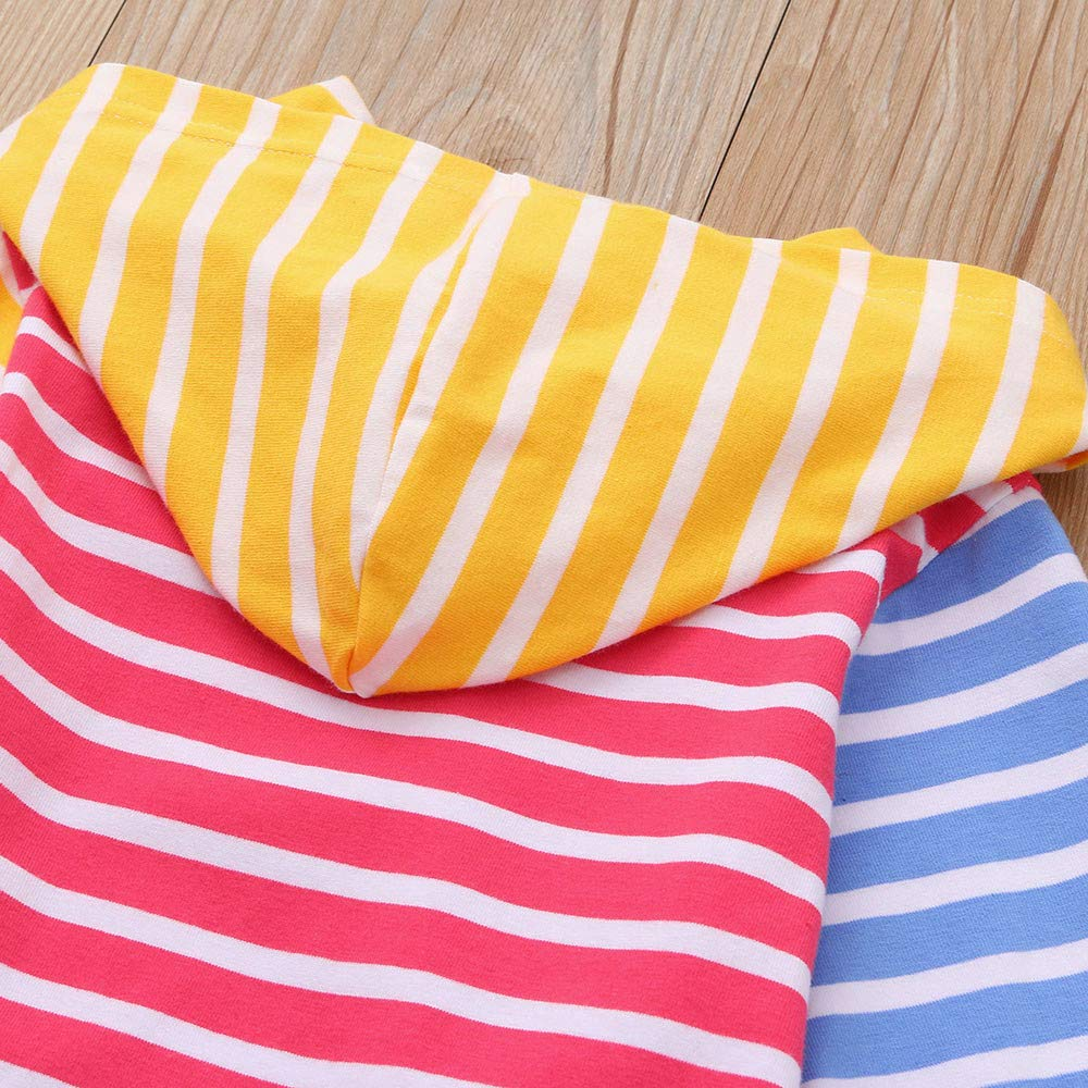 Dream Room Toddler Baby Girls Hoodie Sweatshirt Dresses Striped Multilcolor Patchwork Print Dress