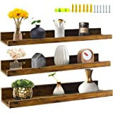 Giftgarden 24 Inch Floating Shelves Wall Mounted Set of 3, Rustic Large Wall Shelves Picture Ledge Shelf for Bedroom Living R