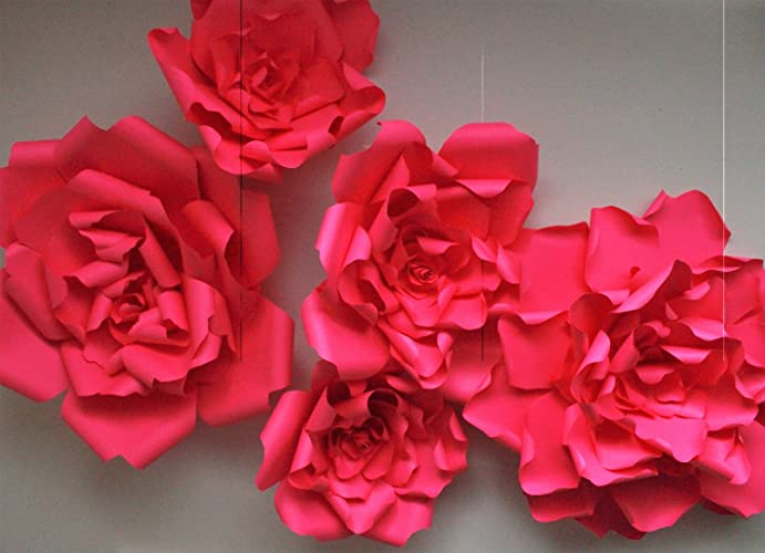 Amazon set of 3 giant red paper flower backdrop flower set of 3 giant red paper flower backdrop flower backdropred paper mightylinksfo