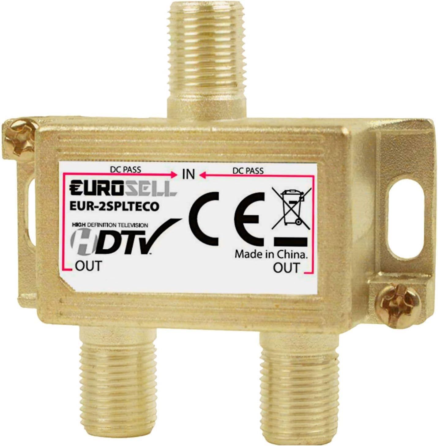 Eurosell Eco Profi Line - Distribuidor de antena (2 conductos retornos, salida de CC para DVB-C DVBC, televisión por cable Unitymedia)