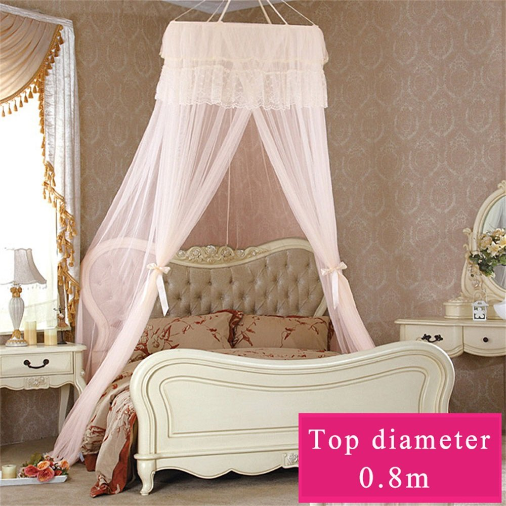 Royal- Dome mosquito net Encryption thickening Home Double bed Exempt from installation Princess style Jade color ( Size : Top diameter 80cm )