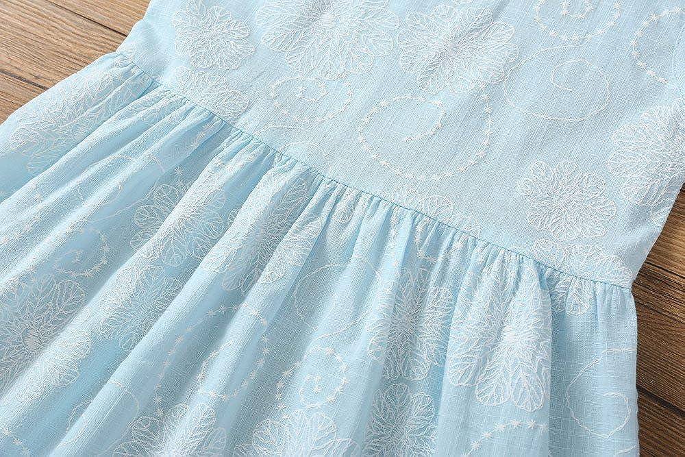 Beauty Girl Dress Floral Light Blue Skirts Sleeveless Princess Dress Beach Sundress for Little Girls