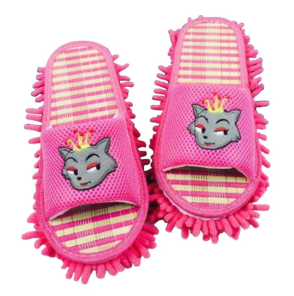 [Rosa] Nützliche Mopphefterzufuhren Bodenreinigung Slippers Mopping Schuhe Blancho Bedding