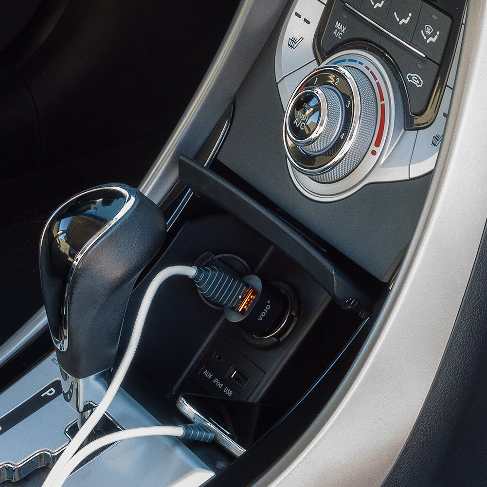 Grey VOJO 4.8A Dual USB Car Charger W// 2in1 Lightning Micro USB Cable for Apple and Android Devices