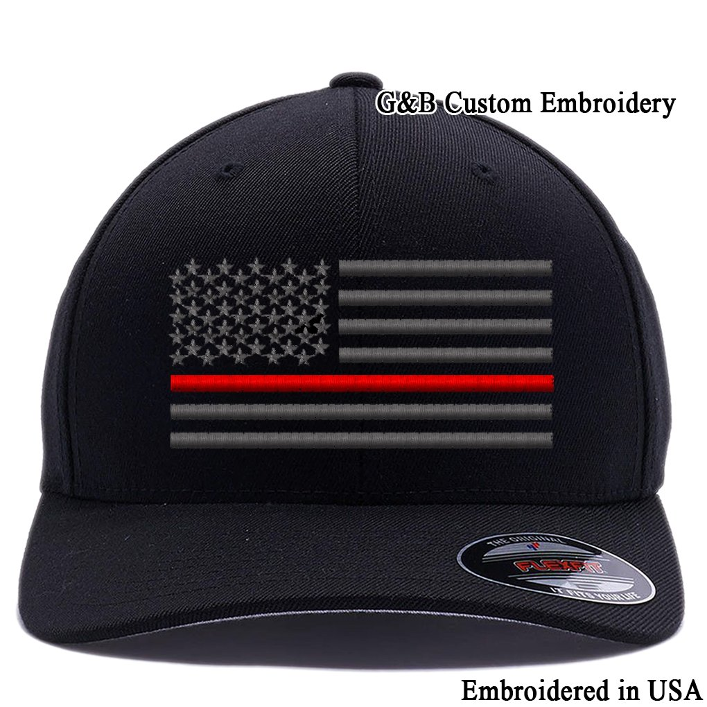 797cf1a03 G&B Custom Embroidery Thin Red Line,Thin Blue Line, Thin Red & Blue Line  Flexfit Baseball Cap