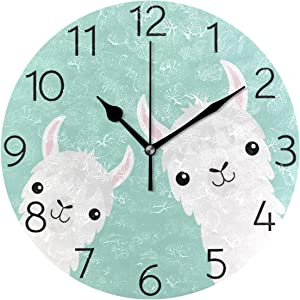susiyo Animal Cute Llama Alpaca Wall Clock Silent Round Wall Clock Non Ticking Battery Operated Creative Decorative Clock for Kids Living Room Bedroom Office Kitchen Home Decor