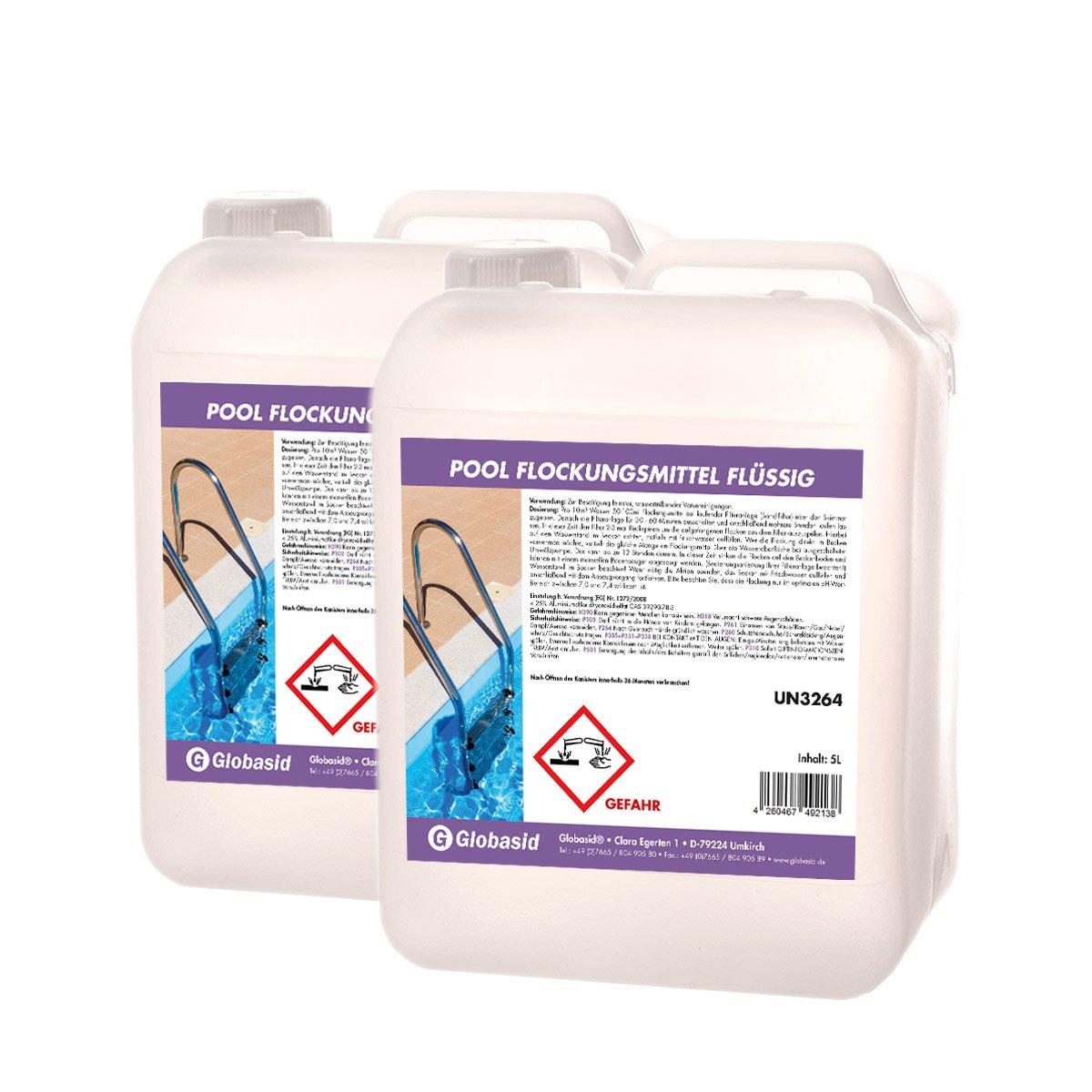 2 x 5 L Flockungsmittel Flüssig - Superflock Flock Pool - Flockmittel Flüssig für Pool-Wasser Globasid