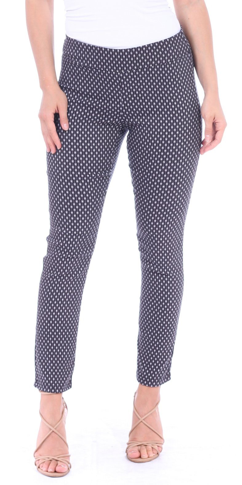 Popana Pull On Pants For Women Ankle Length - Casual Mid Rise Stretch Office Work Pants Medium M3