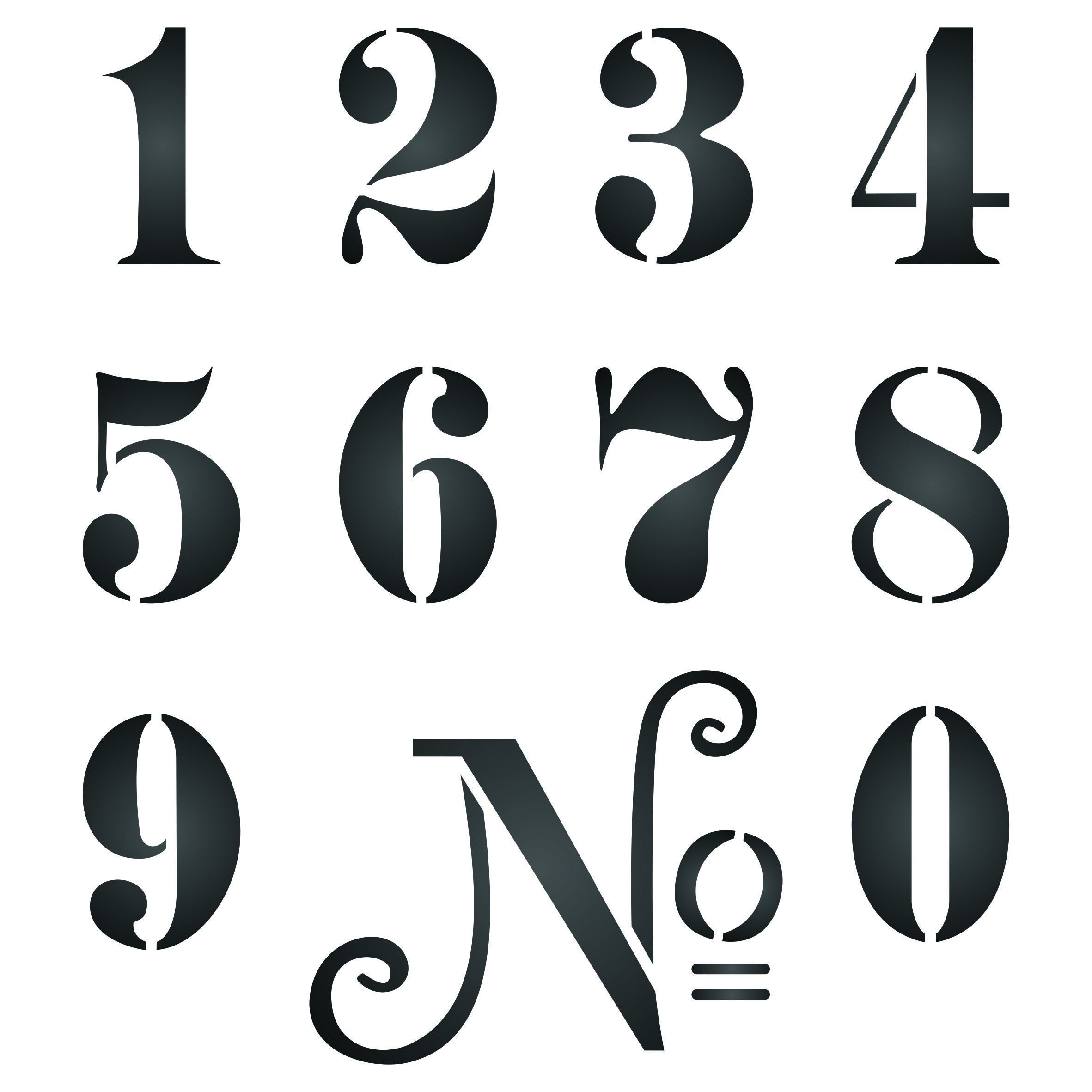 3'' French Numbers Stencil (L) - Reusable Vintage French Themed Word Wall Stencils for Painting - Use on Paper Projects Scrapbook Journal Walls Floors Fabric Furniture Glass Wood etc.