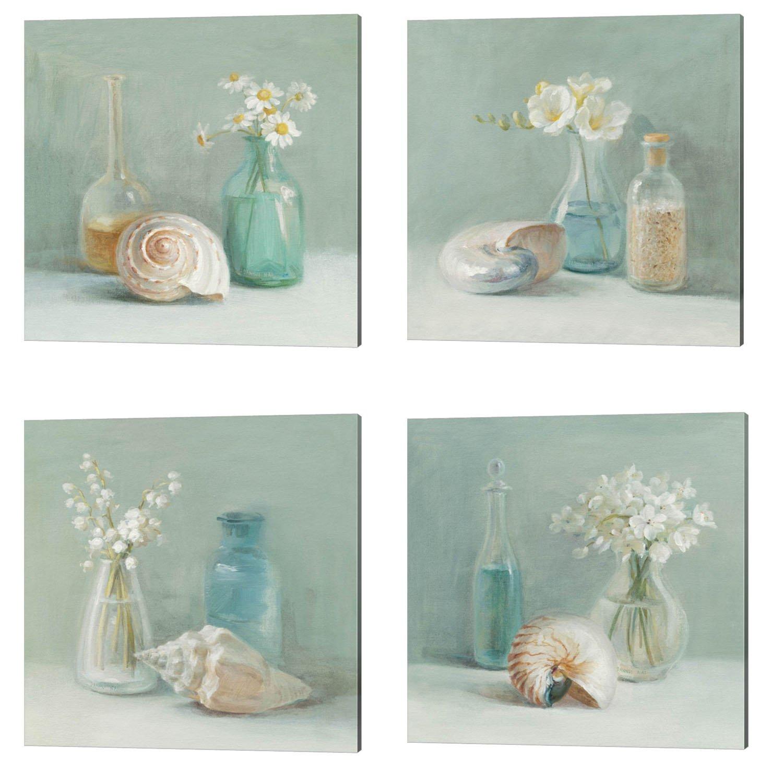 Flower Spa by Danhui Nai, 4 Piece Canvas Art Set, 14 X 14 Inches Each, Bathroom Art