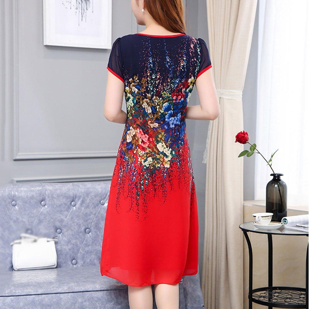 Vestido de mujer Vestidos de las mujeres sofisticadas tallas grandes de gasa suelta hasta la rodilla vestido, bloque de color en capas de impresión cuello ...