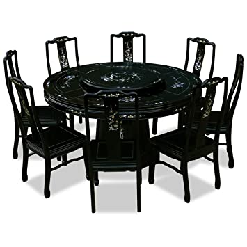 China Furniture Online Rosewood Dining Table, 60 Inches Mother Pearl Inlay Round  Dining Set With