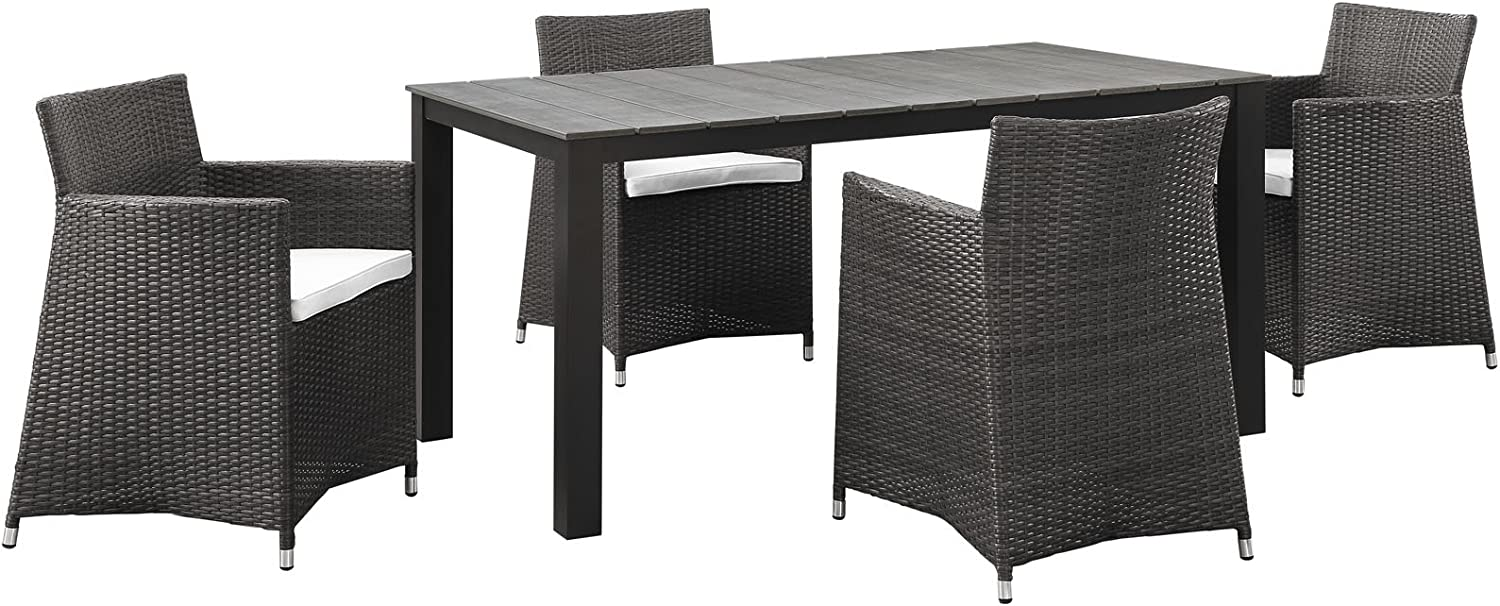 "Modway Junction Wicker Rattan 5-Piece Outdoor Patio Dining Set with 63"" Dining Table and Four Dining Armchairs with Cushions in Brown White"