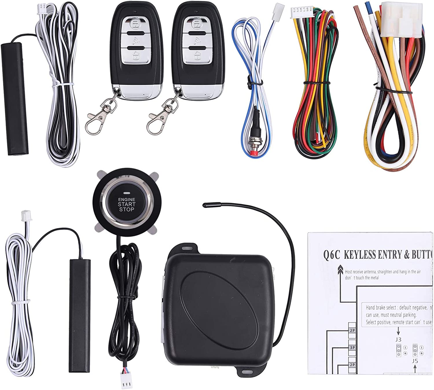 NovelBee 12V Smart Start System,Car Anti-Thief RFID Immobilizer Lock System with Keyless Go Engine Start or Stop Push Button