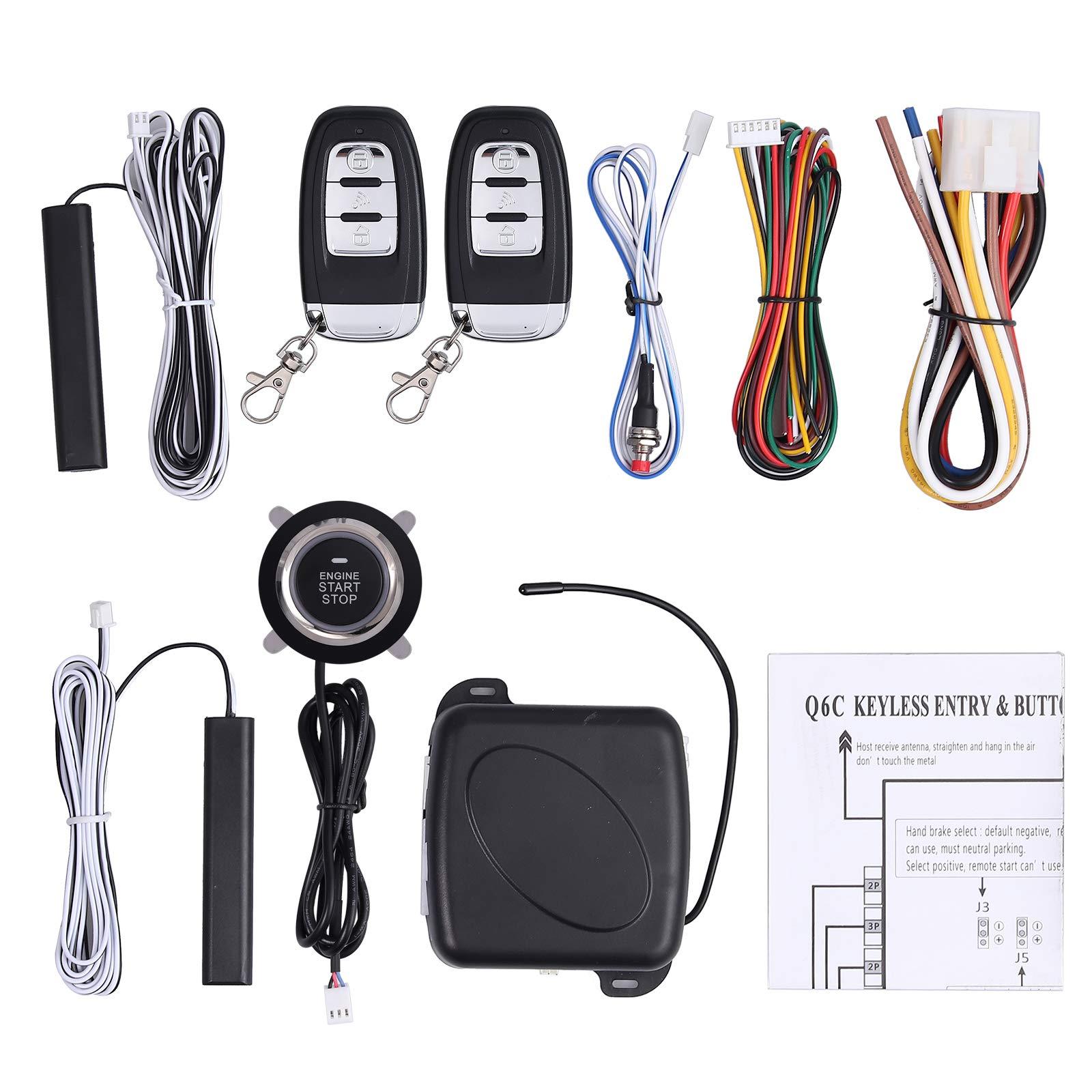 eSynic 12v Car Safety Alarm Start System Smart Keyless Entry Ignition Push Button Starter Car Intelligent PKE Anti-Theft Smart E Models Remote Control Sensor Alarm