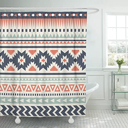 Amazon TOMPOP Shower Curtain Blue Aztec Ethnic Pattern Red