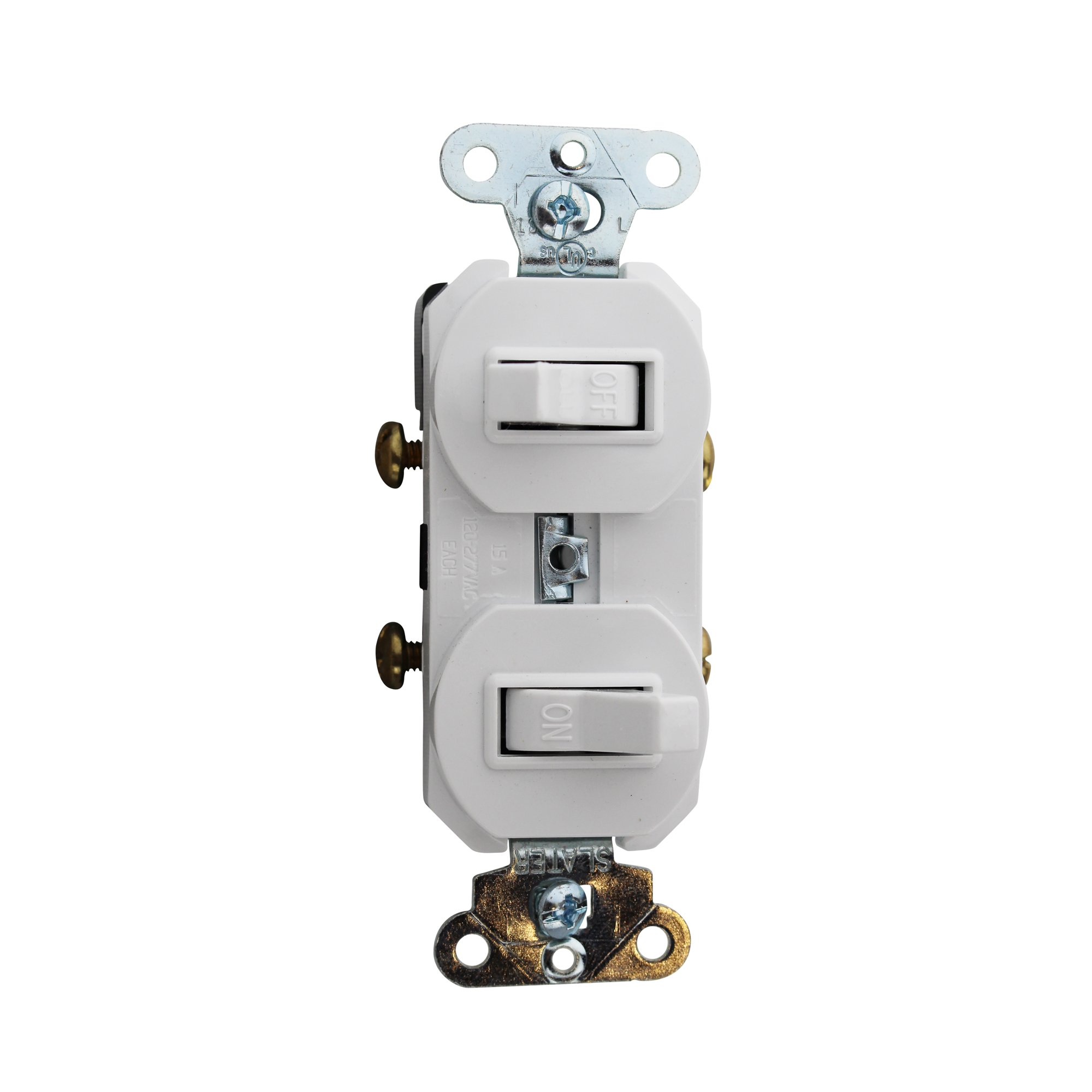 Pass & Seymour 690-WG 120/277 Volt AC 15 Amp 1-Pole Toggle Double Combination Switch White