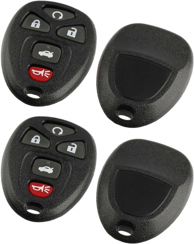 Set of 2 Key Fob Shell fits 2007-2016 Chevy GMC Pontiac Saturn Suzuki Cadillac Buick Keyless Entry Remote Case /& Button Pad 15913421, OUC60221