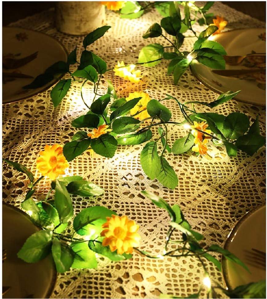 Simulation Yellow Daisy Chrysanthemum String Lights Hanging Vines Garland Silk Artificial Sunlower Light Battery Powered for Home Garden Wedding Party Decor (1Pack Yellow Daisy-B 6.6ft 20 Lights)