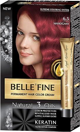 BELLEFINE® - Black Series - Tinte permanente natural - Con 3 aceites y queratina - Caoba