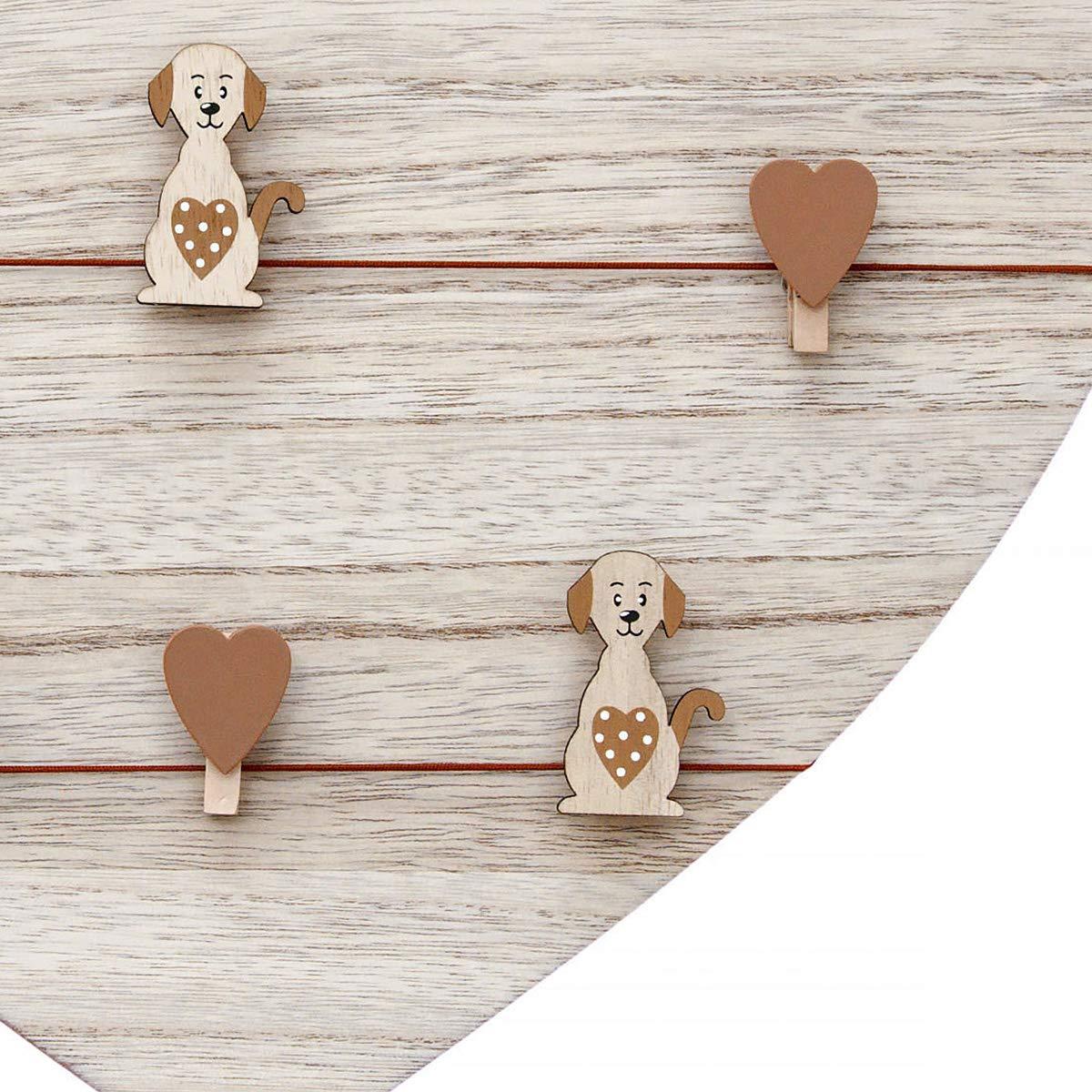 naturelle marron tableau /à message Cadre photo p/êle-m/êle murale forme c/œur en bois pour les amoureux des animaux et chiens tableau /à m/émo 39 x 39 cm avec 5 chien et 5 coeur clips
