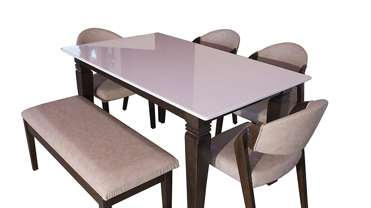 Ghar Ghar's Marble Top Brown and White 9 Seater Dinning Set ...