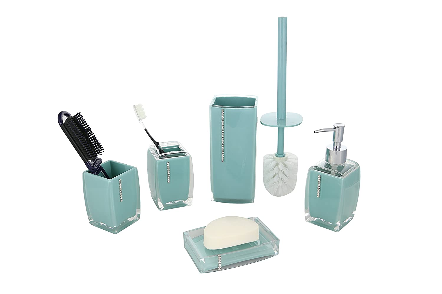 Amazon.com: 6-Piece Bathroom Set Turquoise With Crystals, Includes ...