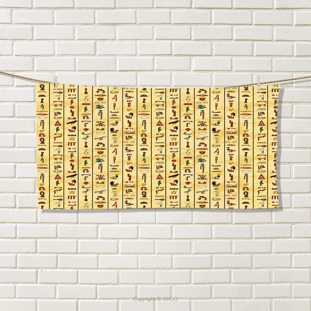 smallbeefly Egyptian Travel Towel Colorful Ancient Hieroglyphics on Papyrus Old Paper Style Background Cairo Culture Quick-Dry Towels Multicolor Size: W 14'' x L 27.14''