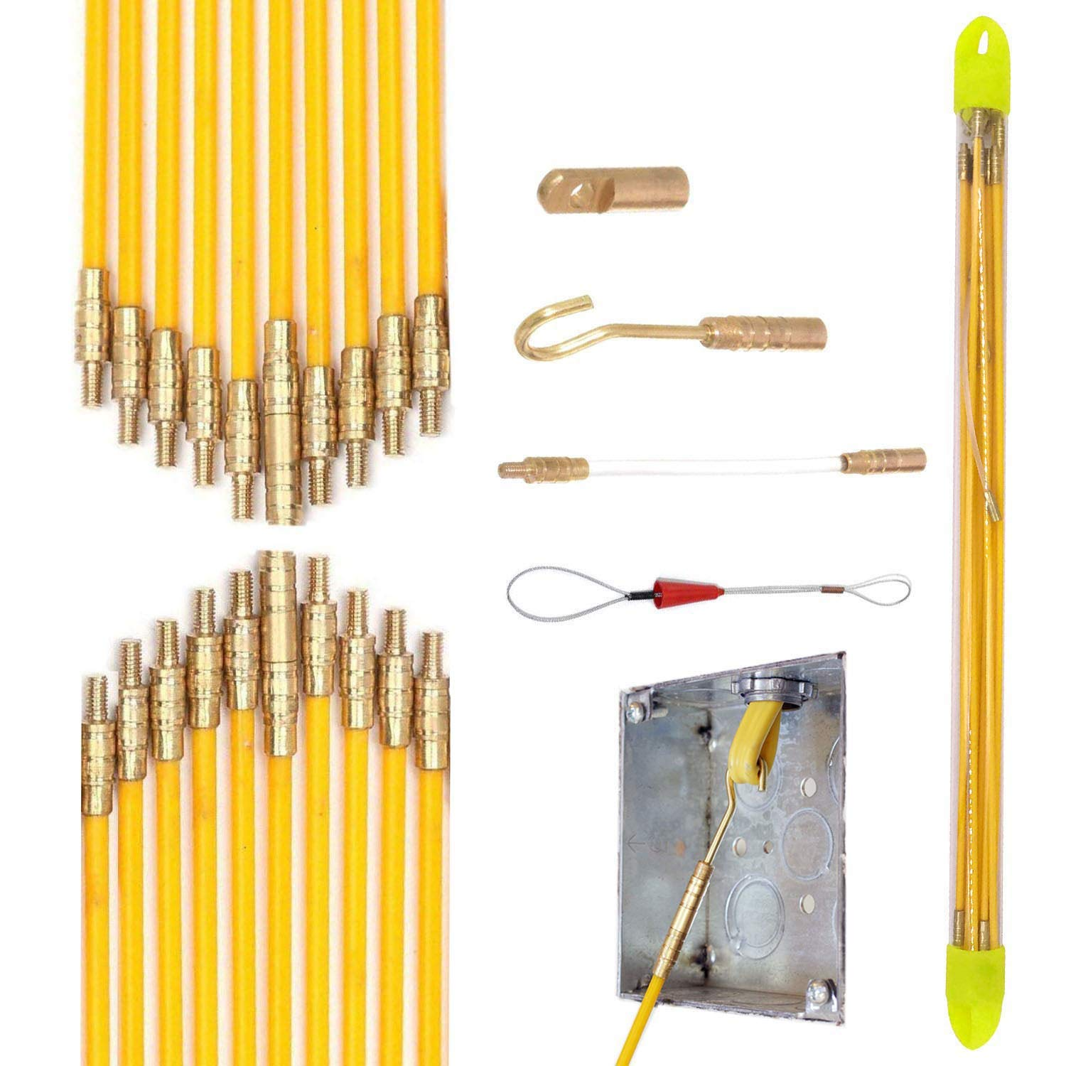 Yellow 66 Wire Noodler Fiberglass Cable Wire Running Rod Coaxial Electrical Connectable Fish Tape Pull Kit With Hook And Hole Kit In Transparent Tube