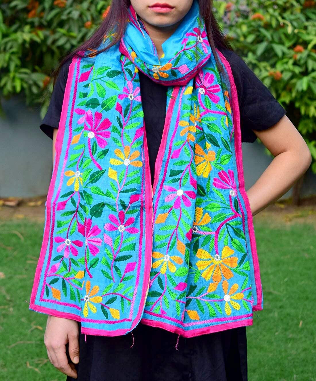 GiftPiper Chanderi Hand Embroidered Stole-Turquoise