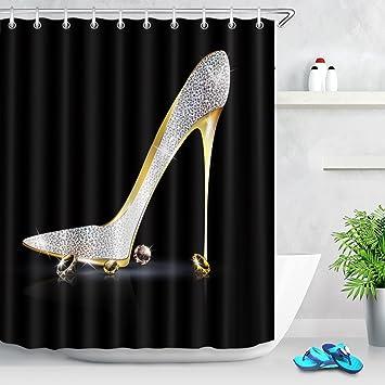 Amazon.com: LB Diamonds Silver Gray High Heels Shoe Shower Curtain ...