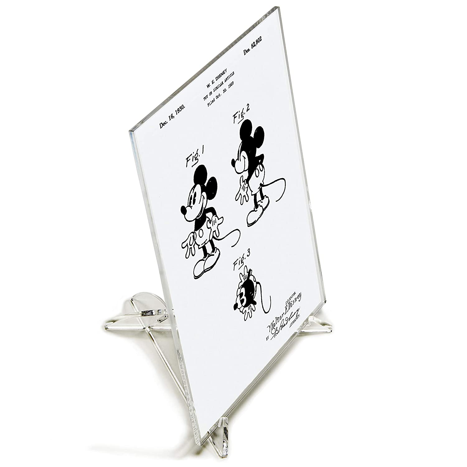 Mickey Mouse Patent Print with Stand Silver Image on Black Background Screened on Acrylic Desk Art Blast 5 x 7