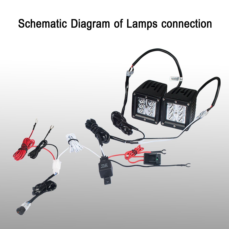 12V30A Relay and 18AWG 9FT Length for LED Light Bar//Driving Light//Fog Light and Pods Light JIHE Pod Light Wiring Harness Kits Red Switch