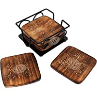 Wood Art Store Handmade Wooden Mango Wood Tea, Coffee Coaster Set with Wrought Iron Holder Decorative Holder (Square)   Tabletop   Dining Table   Gift Item