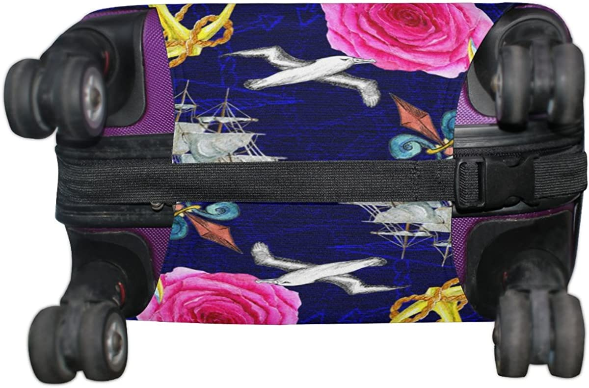 LAVOVO Watercolor Dragon Roses Ships Luggage Cover Suitcase Protector Carry On Covers