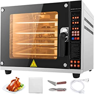VBENLEM 110V Commercial Convection Oven 60L/2.12 Cu.ft Capacity 4500W Electric Toaster Oven 50-350℃ Multifunction Oven 4-Tier Perfect for Roasting Baking Drying Steaming Defrosting Reheating