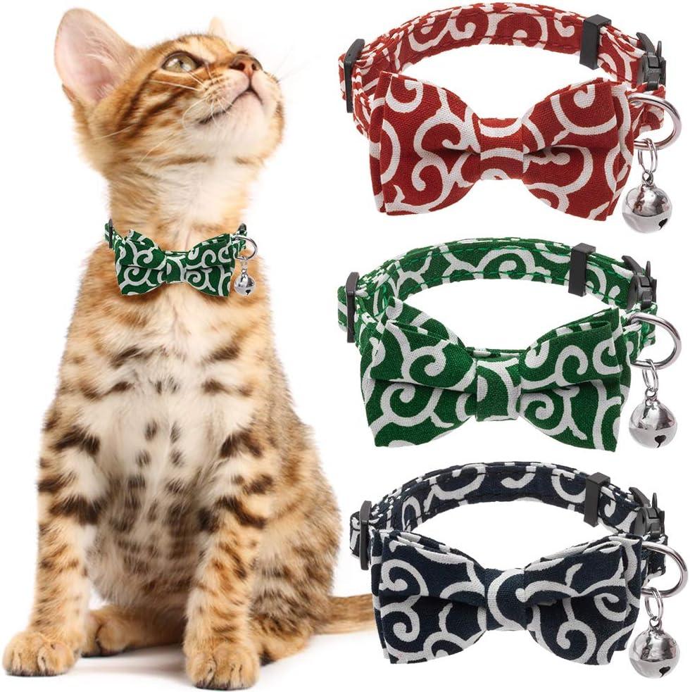 KOOLTAIL Bowtie Cat Collar Breakaway with Bell - 3 Pack Adjustable Collars Japanese Kimono Ninja Style for Cats Kitty Kitten Puppy