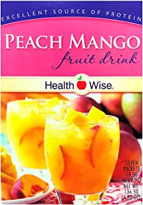 Healthwise - Peach Mango Diet Fruit Drink | Healthy Protein Drink, Appetite Suppressant | High Protein, Fat Free, Low Carb, Low Calorie, Sugar Free (7/Box)
