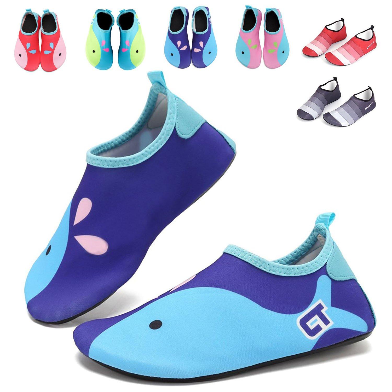 GFtime Water Shoes Toddler Boys Barefoot Swim Skin Aqua Socks Shoes Slip-on for Beach Pool Yoga Size 11.5 12 12.5 inch