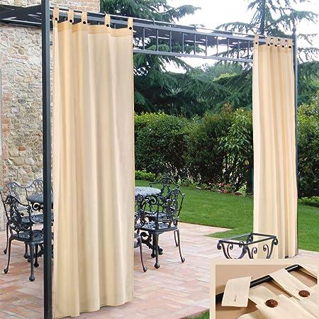 2 cortinas de sol con tirantes para los laterales. Cenador de color crema. Cortinas de 48% algodón y 52% poliéster. Decoración para el hogar. Decoración de jardín. Tamaño de la cortina: 160