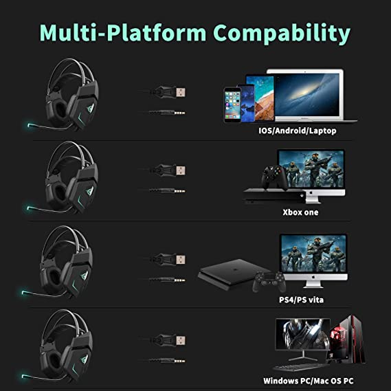 Qingta - Auriculares para Videojuegos inalámbricos con micrófono ...