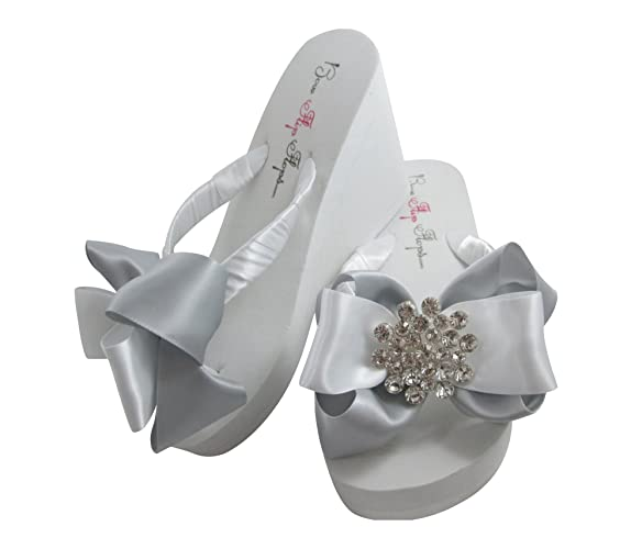 3de07c5e9e1d8 Amazon.com  Silver Wedge or Flat Heeled Sandals for Beach Wedding  Handmade