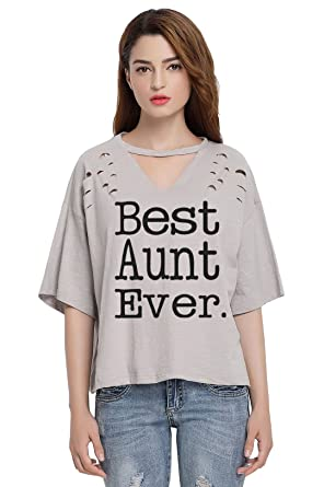 So'each Women's Best Aunt Letters V-Neck Broken Hole Tee T-Shirt