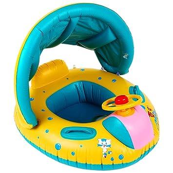 Inflables Baby Pool Flotador Anillo de la natación con Sun Canopy para la Edad 6-36 Meses Horn bebé natación Juguete del Barco para los niños: Amazon.es: ...