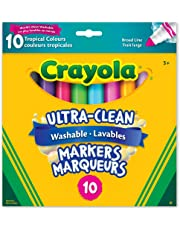 Crayola 10-Count Washable Ultra-Clean Broad Line Markers, Tropical, Adult Colouring, Bullet Journaling, School and Craft Supplies, Drawing Gift for Boys and Girls, Kids, Teens Ages 5, 6,7, 8 and Up, Holiday Toys, Stocking , Arts and Crafts,  Gifting