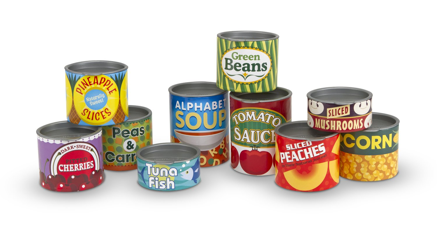 Melissa & Doug Grocery Cans Play Food - 10 Stackable Cans