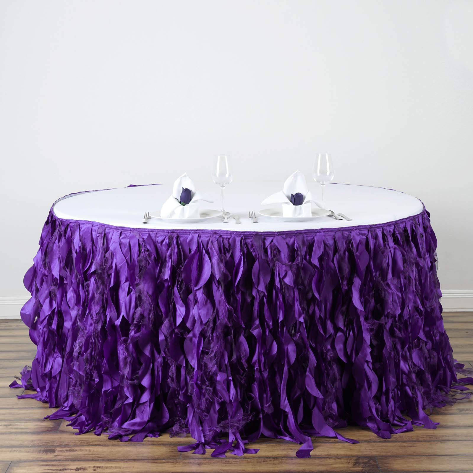 Efavormart 14ft Enchanting Curly Willow Taffeta Table Skirt for Kitchen Dining Catering Wedding Birthday Party Events - Purple by Efavormart.com (Image #4)