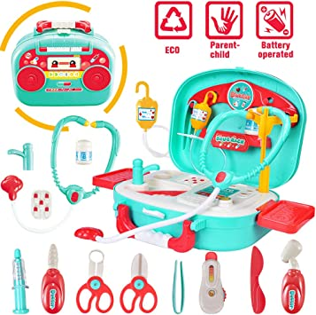 Ingqu Doctor Kit For Kids Pretend Play Medical Set Case Lighting Musical Educational Toy Doctor Playset For Kids Boys Girls