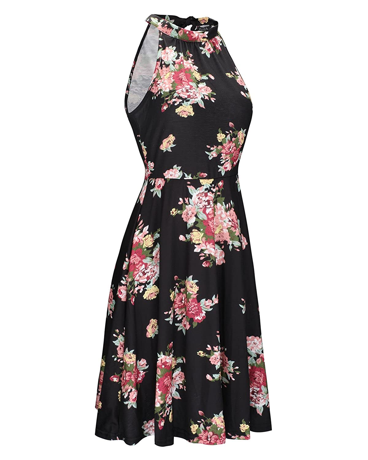ab523146093 OUGES Women s Halter Neck Floral Summer Casual Sundress at Amazon Women s  Clothing store