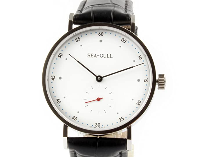 Estilo Bauhaus SEA-GULL automático hombres reloj pequeño de segunda mano + resistente al reloj banda: Amazon.es: Relojes